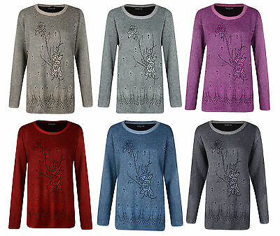 Ladies Jumper Floral Print Jumpers Uk Sizes 14 16 18 20 Bnwt