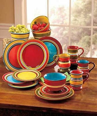 Striped Colorful Southwest Dinnerware Sets Coffee Mugs Cups Bowls Plates 16 Pc