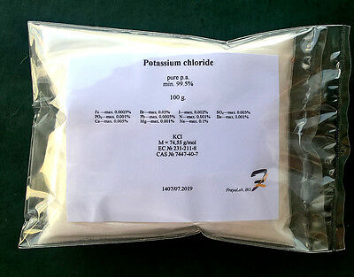 Potassium chloride (E508) - 99.5% pure p.a 50-100-200-400-800g powder