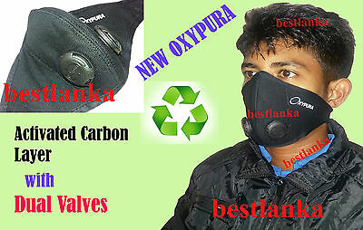 Anti Smoke Dual Valve Air Purifying Face Mask with activated carbon filter Black