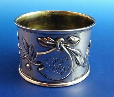 German 800 Silver Wide Napkin Ring with Ribbon, Leaves & Berries (#968)