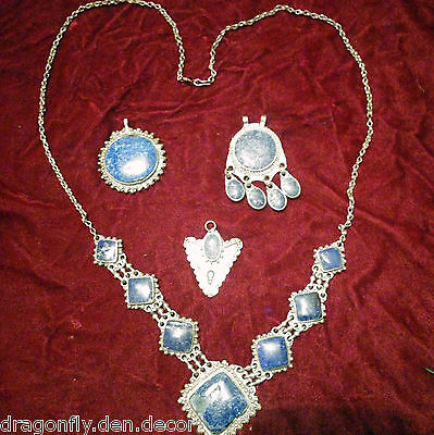 Ethnic Afghan Silver and Blue Lapis Lazuli Necklace & 3 Pendants