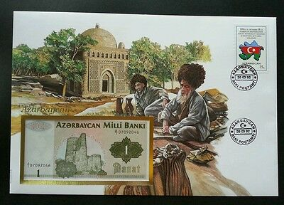 Azerbaijan Islamic Mosque 1992 Daily Life Flah Map Nation (banknote cover) *rare