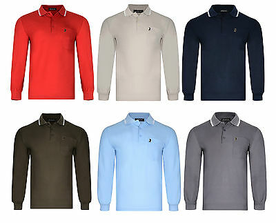 Mens Polo Shirt Long Sleeved Pique Top With Golfer Badge Bnwt