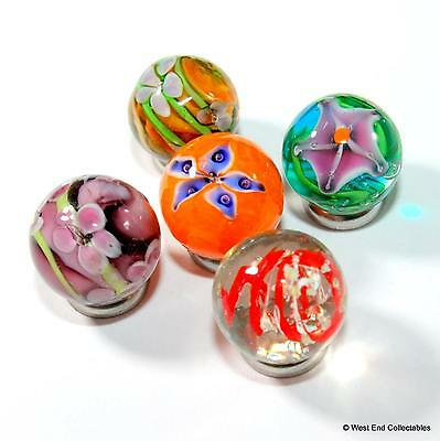 5 x 16mm Handmade Glass Art Toy Marbles - Intricate Detail + 1x Glow In The Dark