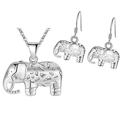 The new elephant 925 STERLING SILVER Jewelry Sets necklace earrings female girl