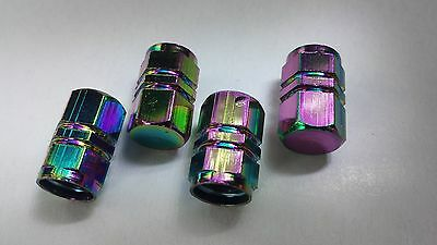 Neo Chrome Rainbow Tyre Valve Hexagonal Dust Caps Car Bike Motorcycle BMX x 4