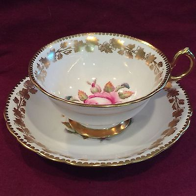 Royal Chelsea Pink Roses & Gold Leaf Scalloped Tea Cup and Saucer Set 375A