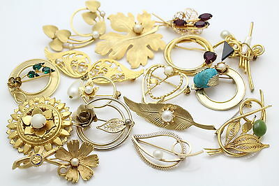 Lot of 16 Gold Tone Fashion Brooches With Faux Stones and Some Vintage