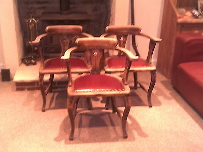Three Vintage Captains Chairs / Smokers Elbow Chairs / Pub Chairs
