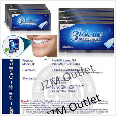 14 x 3D Teeth Whitening Strips White Enamel Safe 7 Pouches Fast Result