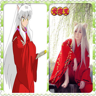 New INUYASHA Bright Red Kimono Costume Cosplay Halloween Adult Uniform New