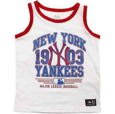 Majestic Athletic New York Yankees  White Vest OFFICIAL BASEBALL TOP BOYS BNWT