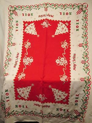 Vtg Christmas Tablecloth Cotton Blend CUTTER AS IS Fabric Red Noel Trees 49x69