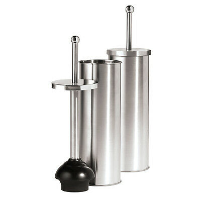 Toilet Plunger and Holder Satin Finish Stainless Steel 14.5 Inch