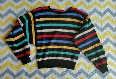 ❤ Vintage colour Stripe Jumper Angora wool batwing sleeves Size M size 8 - 10 ❤