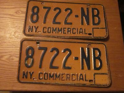 1973-86 New York State issued License Plates 8722-NB set of 2