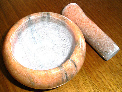 MORTAR AND PESTLE SET EARTH GREY SOLID Marble Small Herbs Spices Garlic Chili