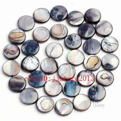 """11mm Pretty Natural Black Shell MOP Coin Shape Gemstone Loose Beads Strand 15"""""""