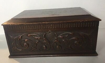 Antique Carved Mahogany Porcelain Lined Cigar Pipe Humidor Box Kopriwa Chicago