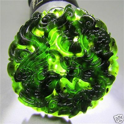 Natural chinese black green jad hand-carved pendant necklace Dragon and phoenix