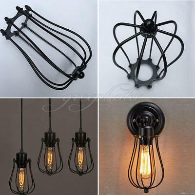 1PC Iron Wire Bulb Cage Lamp Guard Shade Vintage Trouble Light NEW Black