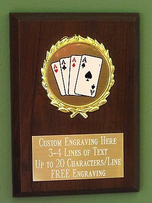 Poker/Blackjack/Card Playing Award Plaque 4x6 Trophy FREE engraving