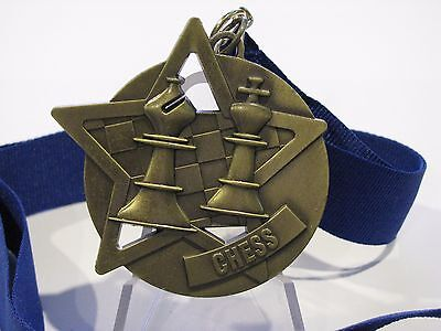 Chess Antique Gold Medal 50mm Diameter Engraved FREE / Ribbon Included