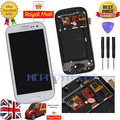 For Samsung Galaxy S3 i9300 LCD Display Touch Screen Digitizer + Frame White