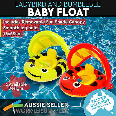 Inflatable Baby Bumblebee Float Floatie Toy Summer Pool 76 x 68cm Airtime