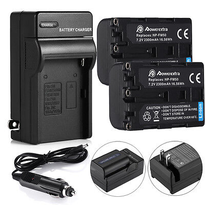 2x NP-FM50 Battery + Charger for Sony NP-FM30 NP-FM51 NP-QM50 NP-QM51 NP-FM55H