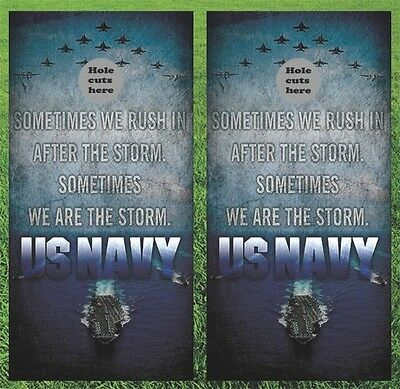 "Navy Military Cornhole Wrap Decals Bag Toss 3M Vinyl 24x48"" Fast Shipping"