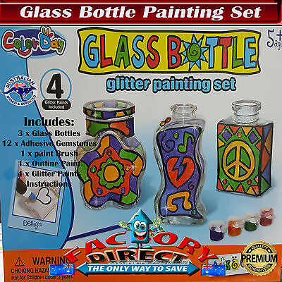 Glass Bottle Kids Painting Set Glitter Art Craft Kit Toy Gems Set
