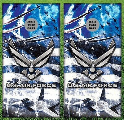 "Air Force Military Cornhole Wrap Decals Bag Toss 3M Vinyl 24x48"" Fast Shipping"
