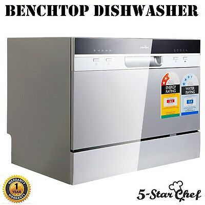 Freestanding 5 Star Chef Electric Benchtop Dishwasher Quiet Operation Silver