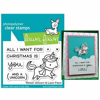 WINTER UNICORN LF1218 - Lawn Fawn Clear PHOTOPOLYMER Stamps Made in USA