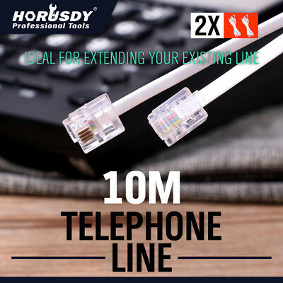 10M Telephone Phone Extension Cord Cable Lead Adsl ADSL2 Filter Modem Fax Plug
