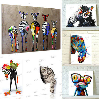 Modern Animal Wall Art Print Picture Painting On Canvas DIY With Wood Frame