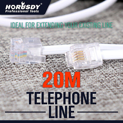 20M Telephone Phone Cord Cable Plug Extension For ADSL2 ADSL Filter Modem Fax