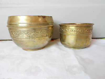 2 ANTIQUE FRENCH BRASS Planters / Pots / Jardinieres