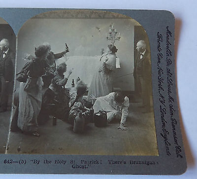 KEYSTONE Stereoview - By The Holy St Patrick There's Brannigan's Ghost