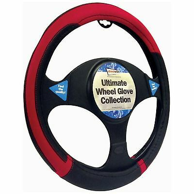 Steering Wheel Glove Cover Black And Red Leather Look Universal 37-39cm