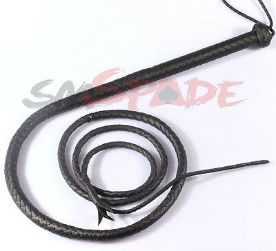8ft Black Artificial Faux Leather Bullwhip Plait Riders Cow Whip Bull Stock Whip