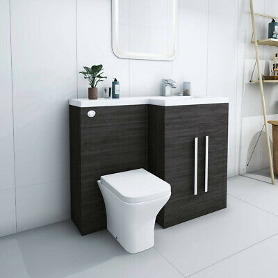 Designer RH Grey Combi Bathroom Vanity Unit with Basin + Back To Wall Toilet