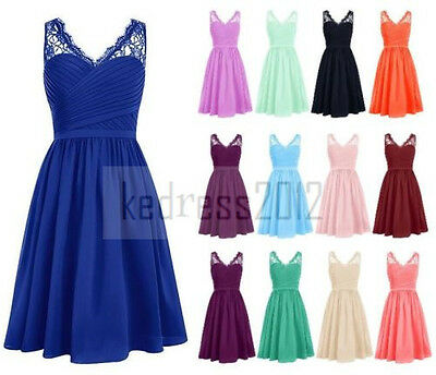 New Short Lace/Chiffon Bridesmaid Formal Prom Party Ball Evening Dress Size 6-20