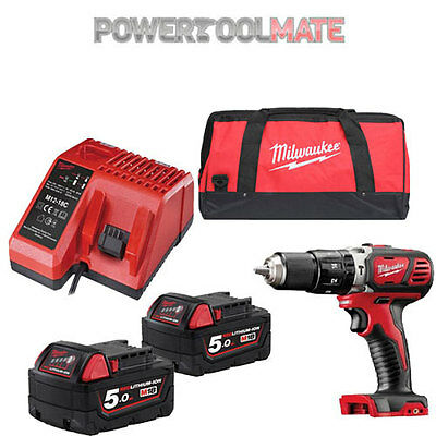 Milwaukee M18BPD-502C 18v Combi Hammer Drill, 2x 5Ah Batteries, Charger and Bag