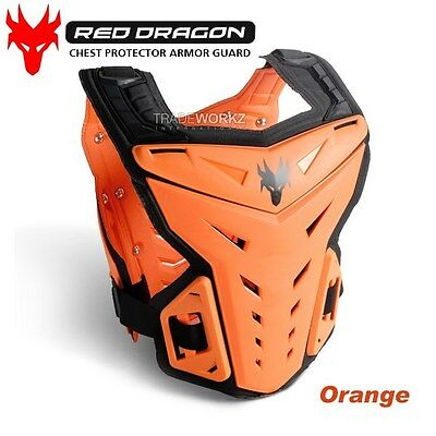 New RED DRAGON Orange Motorcycle Motocross Vest Chest Protector Body Armor Guard