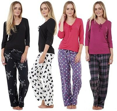 0b315fc321480 Ladies Cosy Printed Pyjama Set Womens Fleece Nightwear PJ'S Winter Warm