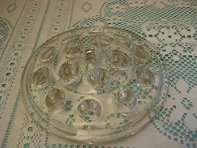 "Vintage Round Clear Glass 5"" Flower Frog / Paperweight / 16 Holes"
