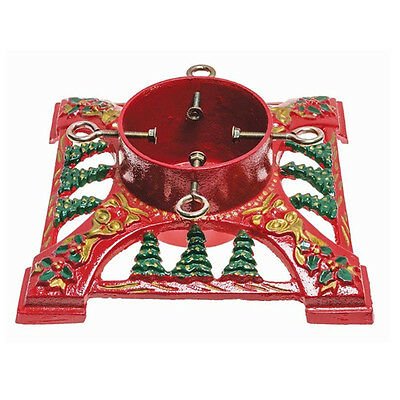 "14"" Red Bows And Bells Cast Iron Christmas Tree Stand Heavy Duty Water Resevoir"
